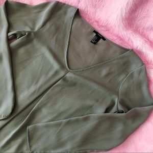Olive F21 Flowy Blouse